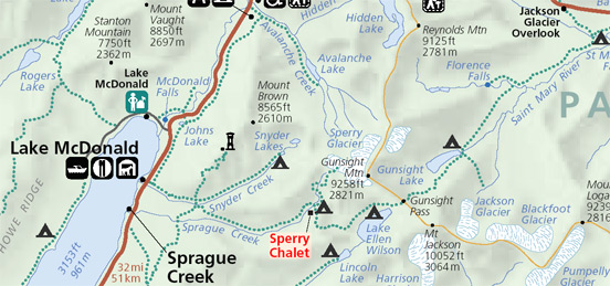 Map of trails to Sperry Chalet